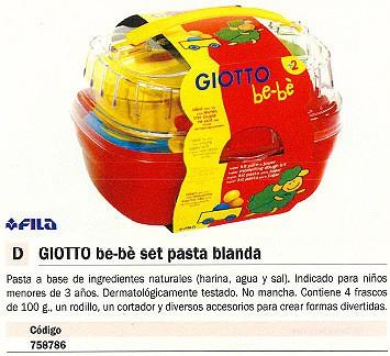 FILA PASTA MOLDEADORA + ACCESORIOS GIOTTO BE-BÉ SET 4 UD 100 GR 467600