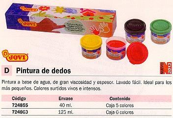 JOVI PINTURA DEDOS CAJA 6 UD 125 MM COLORES SURTIDOS 560/S