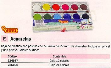 JOVI ESTUCHE ACUARELAS COLORES SURTIDOS 12 UD CON PINCEL Y PALETA 800/12