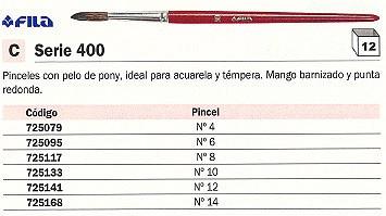 ENVASE DE 12 UNIDADES FILA PINCEL Nº 10 PELO DE PONY ACUARELA Y TÉMPERA 551000
