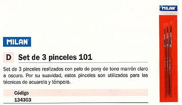 MILAN PINCEL 101 SET 3 UD PELO DE PONY MARRÓN ACUARELA Y TÉMPERA BWM10023