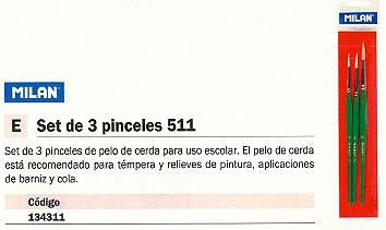 MILAN PINCEL MOD. 511 SET 3 UD BWM10024