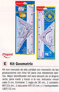 MAPED KIT PIEZAS GEOMETRIC 4 PIEZAS REGLA CARTABÓN ESCUADRA TRANSPORTADOR 242767