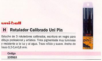 UNI-BALL ESTUCHES ROTULADORES 3 UD COLORES SURTIDOS CALIBRADOS UNIPIN3CAL