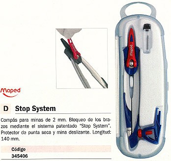 MAPED COMPASES STOP SYSTEM 140 MM MINAS 2MM BLOQUEO BRAZOS PROTECTOR PUNTA 196100