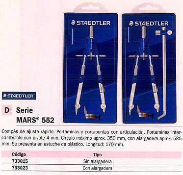 STAEDTLER COMPASES MARS 552 170 MM MINAS 4MM SIN ALARGADERA 552 01