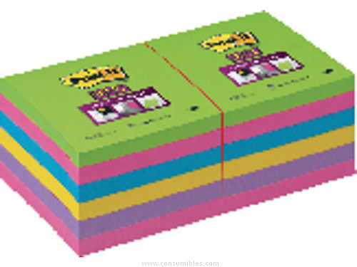 POST IT NOTAS ADHESIVAS SUPER STICKY PACK 3 BLOCS 90H COLORES ARCO IRIS 102X152 MM 70005253409