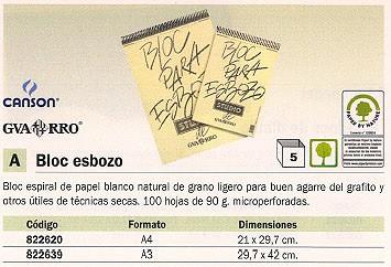 ENVASE DE 5 UNIDADES CANSON BLOC ESBOZO 100 HOJAS A3 90 GR 200407690