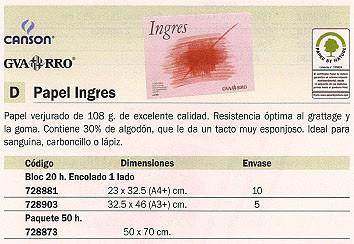 ENVASE DE 5 UNIDADES GUARRO CANSON PAPEL INGRES VERJURADO 20 HOJAS 20 HOJAS 108 GR PACK 5 200400725