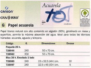 GUARRO CANSON PAPEL ACUARELA 25 HOJAS 50X70 CM 350 GR 200408042