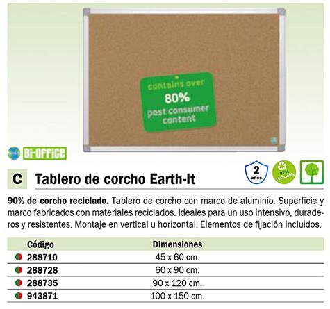 BI-OFFICE TABLERO CORCHO EARTH-IT 100X150 CA151790
