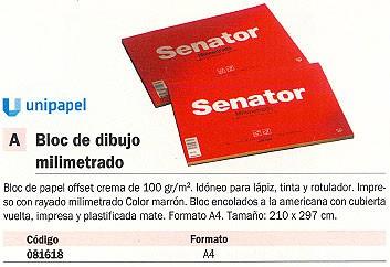 Blocs de dibujo ENVASE DE 5 UNIDADESUNIPAPEL SENATOR BLOC DE DIBUJO 50 HOJAS A4 81618