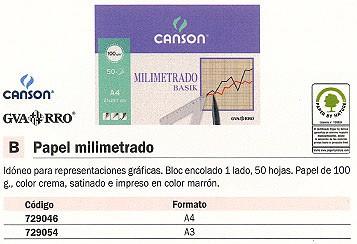 CANSON PAPEL 50 HOJAS A3 90 GR MILIMETRADO 200402863