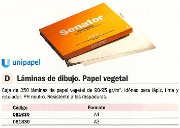 Comprar Papel vegetal 081630 de Unipapel online.