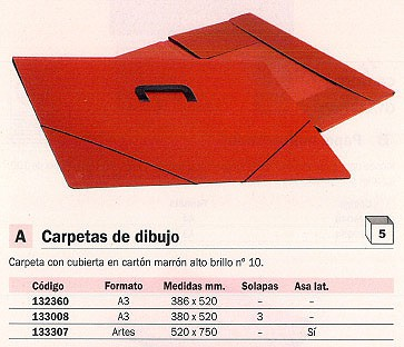 ENVASE DE 5 UNIDADES CARCHIVO CARPETA DIBUJO 380X520 A3 MARRÓN 2050B