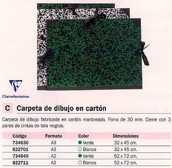 CLAIREFONTAINE CARPETA DIBUJO 32X45 CM VERDE 32000C