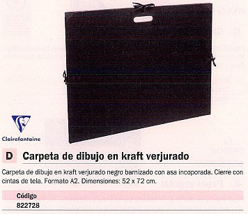 CLAIREFONTAINE CARPETA DIBUJO 52X72CM A2 NEGRO CIERRE GOMAS 38929C