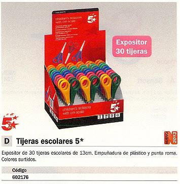 5 STAR EXPOSITOR TIJERAS 30 UD COLORES SURTIDOS 13 CM Y PUNTA ROMA E 2050 SP