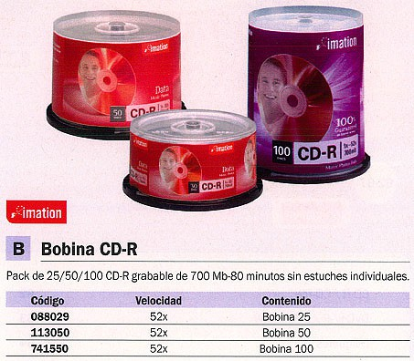 IMATION BOBINA 100 CD-R REFERENCIA 18648