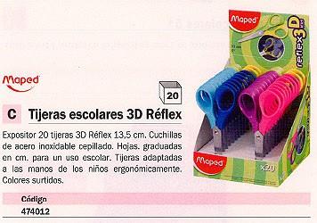 MAPED EXPOSITOR TIJERAS 20 UD COLORES SURTIDOS 3D REFLEX 474012