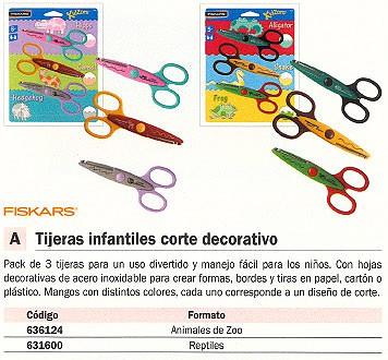 FISKARS TIJERAS INFANTILES INFANTILES PACK 3 UD REPTILES HOJAS DECORATIVAS 8231