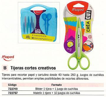 MAPED TIJERAS ESCOLARES MALETIN 1 TIJERA+10 CUCHILLAS CORTES CREATIVOS 601010