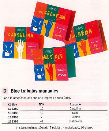 ENVASE DE 5 UNIDADES UNIPAPEL BLOC MANUALIDADES 41 HOJAS 10 CARTULINAS, 10 SEDA, 7 CELOFÁN, 4 METAL. 10 CHAROL 4785 PA