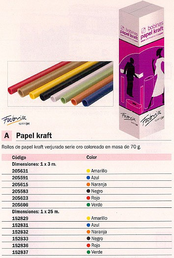 FABRISA ROLLO PAPEL KRAFT 1MX25M AMARILLO 8102507