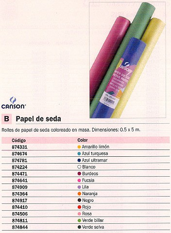 GUARRO CANSON ROLLO PAPEL SEDA 0.5X5M AMARILLO LIMON 200992660