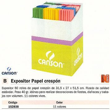 Papel crespon CANSON EXPOSITOR PAPEL CRESPÓN 60 ROLLOS 31,5X27X51,5 CM 200006393