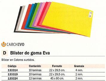 CARCHIVO GOMA EVA BOLSA 10 UD 2 MM 45X 60 CM COLORES SURTIDOS 4004E