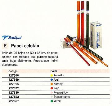SADIPAL ROLLO PAPEL CELOFAN 25 HOJAS 50 X 65 CM VERDE 12503