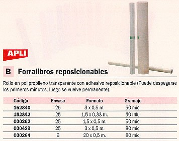 ENVASE DE 25 UNIDADES APLI FORRO LIBRO 1,5X0,50 50 M ADHESIVO REPOSICIONABLE 262
