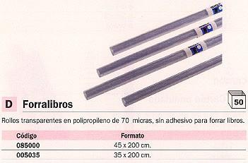 ENVASE DE 50 UNIDADES RENOLIT FORRALIBROS 50 ROLLOS 45X200 70 MICRAS TRANSPARENTE 85000