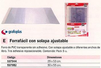 GRAFOPLAS FORROS LIBROS 29X53 5 UD TRANSPARENTE SIN ADHESIVO PVC 1009600