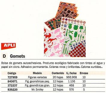 ENVASE DE 10 UNIDADES APLI GOMETS BLISTER 12 HOJAS 468 UD FIGURAS GEOMETRICAS GRANDES 994