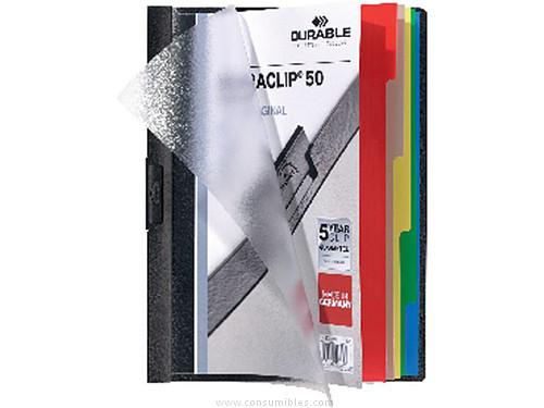 ENVASE DE 25 UNIDADES DURABLE DOSSIERS CLIP DURACLIP ORIGINAL INDEX 50 CAPACIDAD 50 HOJAS A4 NEGRO PVC 627165