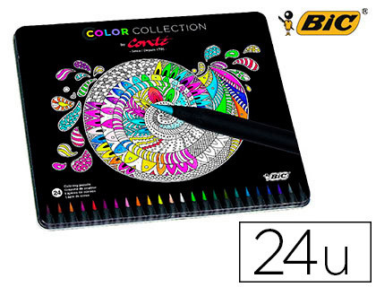 LAPICES DE COLORES BIC COLOR COLLECTION CAJA METALICA 24 UNIDADES COLORES SURTIDOS