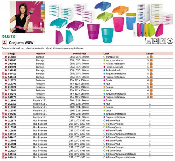 Accesorios de Sobremesa LEITZ BUC WOW RESISTENTE 5 CAJONES (1 GRANDE + 4 PEQUE.)PURPURA ACABADO BRILLANTE. 52141051