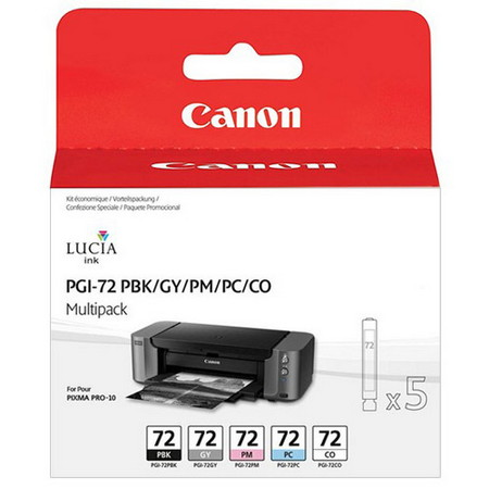 CARTUCHO DE TINTA COLORES PBK-GY-PM-PC-CO PACK 5 CANON PGI-72 para Pixma Pro-10S