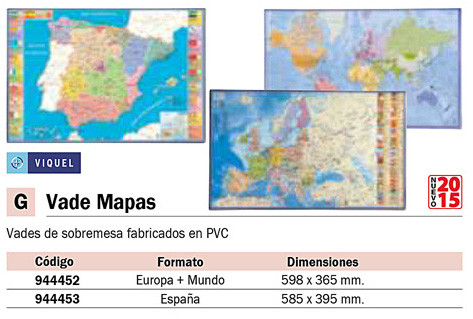 Accesorios de Sobremesa VIQUEL VADE PVC 595X365MM SURTIDO (6 MUNDO - 6 EUROPA) 092453-05
