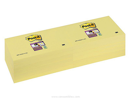 POST IT NOTAS ADHESIVAS SUPER STICKY PACK 12 BLOCS 90H AMARILLO 76X127 MM 655 12SSCY EU