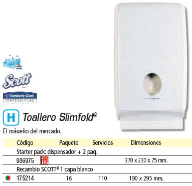Higiene KLEENEX STARTER PACK DE DISPENSADOR SLIMFOLD+2 PAQ.ESPACIOS REDUCIDOS DISPENSADOR 370X230X75MM 7996
