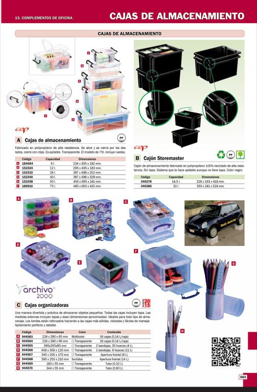Cajas de almacenamiento ARCHIVO 2000 CAJA DE ALMACENAJE TRANSPARENTE CON 2 BANDEJAS. RU4-2X15CSTP