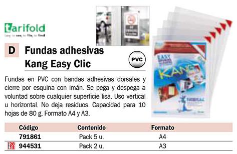 FUNDAS KANG ADHESIVAS REPOSICIONABLES APERTURA EN L Y CIERRE IMANTADO PVC. PACK 2U.