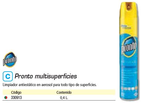 DIVERSEY LIMPIADOR PRONTO MULTISUPERFICIE 400ML AEROSOL 7511537