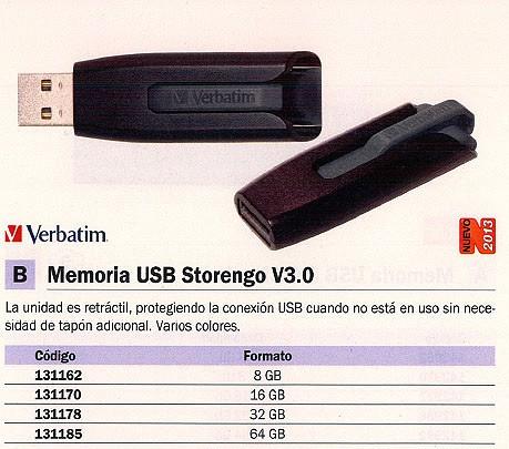 VERBATIM MEMORIA USB STOREN GO USB 3.0 8GB COLORES SURTIDOS RETRACTIL 49171