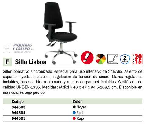 PIQUERAS SILLON LISBOA NEGRO ESPECIAL PARA USO INTENSIVO.14SBALI840CRBFRIT