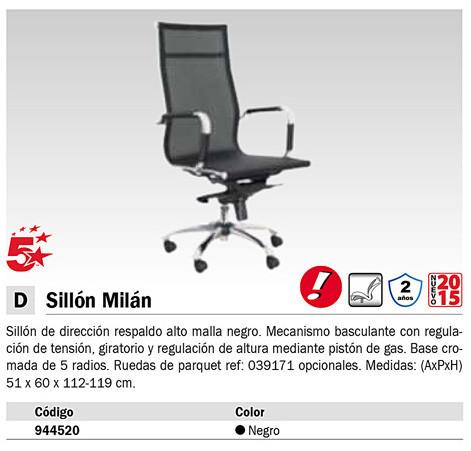 5 STAR SILLON DIRECCION MILAN RESPALDOMEDIO MALLA NEGRO. 204CBNE
