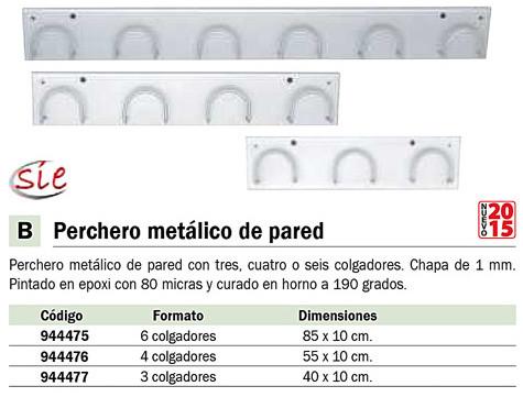 SIE PERCHERO METÁLICO DE PARED EN COLOR NEGRO CON 4 COLGADORES 611